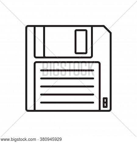 Floppy Disk Linear Icon. Hd Diskette Old Data Media. Vector Illustration, Isolated On White Backgrou
