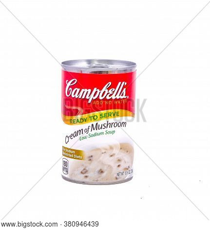 A Can Of Low Sodium Cream Of Mushroom Soup Isolated On White For Illustrative Editorial