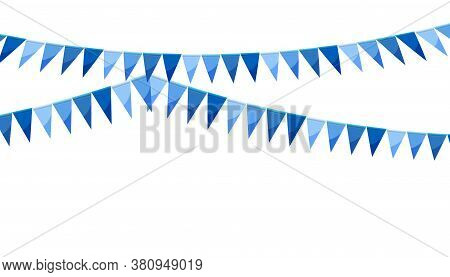 Blue Paper Bunting Party Flags Isolated On White Background. Carnival Garland With Flags. Decorative