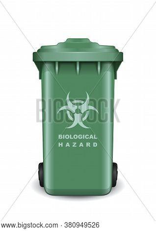 Dumpster With A Symbol Of Biological Threat. Biohazard Symbol. Biological Hazard Icon On A Trash Rec