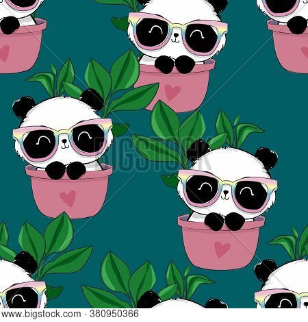 Seamless Pattern Hand Drawn Panda With Glasses And Leaves. Textile Print Design. Vector Illustration