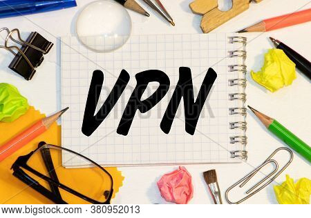 Vpn - Virtual Private Network Acronym, Technology Concept Background.