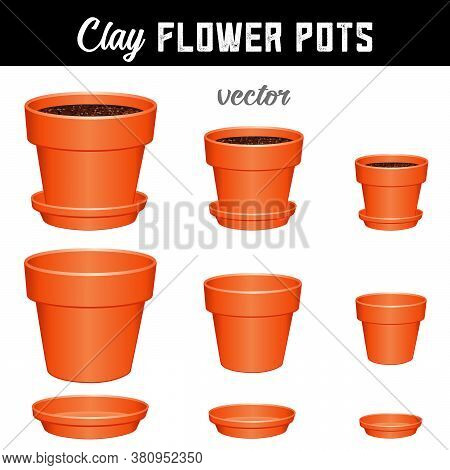 Flower Pots, Small, Medium, Large Clay Garden Planters And Saucers, Separate And Combined Versions F