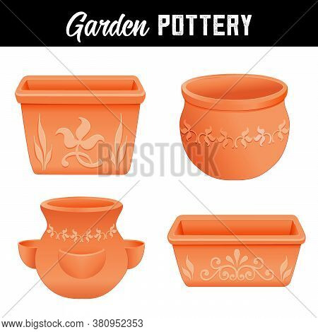Garden Pottery Planters With Floral Designs, Round, Square, And Strawberry Jar Clay Flower Pots For