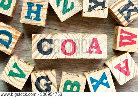 Alphabet Letter Block In Word Coa (abbreviation Of Certificate Of Analysis, Certificate Of Authentic