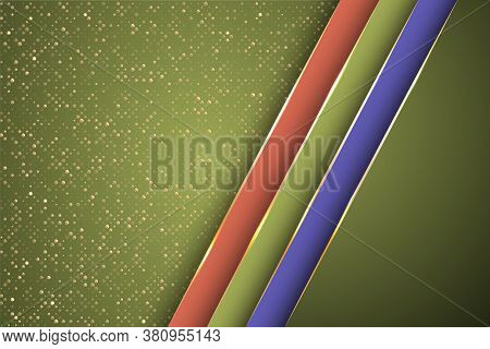 Gold Halftone Dots And Inclined Ribbon Stripes Banner Vector Design. Royal Business Background Templ