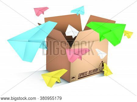 Paper Planes Flying Out Of Box Labeled Express Mail. Sending Messages And Delivering E-mail. Color V
