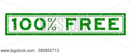 Grunge Green 100 Percent Word Square Rubber Seal Stamp On White Background