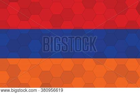 Armenia Flag Illustration. Futuristic Armenian Flag Graphic With Abstract Hexagon Background Vector.