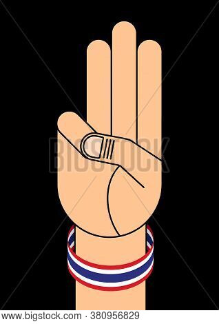 Protest For Democracy In Thailand Poster Design Template Decorative With Three-finger Slute And Thai