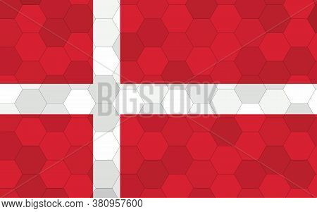 Denmark Flag Illustration. Futuristic Danish Flag Graphic With Abstract Hexagon Background Vector. D