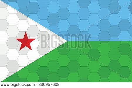 Djibouti Flag Illustration. Futuristic Djiboutian Flag Graphic With Abstract Hexagon Background Vect