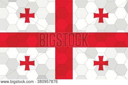 Georgia Flag Illustration. Futuristic Georgian Flag Graphic With Abstract Hexagon Background Vector.