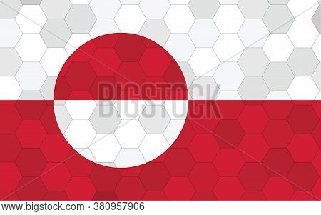 Greenland Flag Illustration. Futuristic Greenlander Flag Graphic With Abstract Hexagon Background Ve