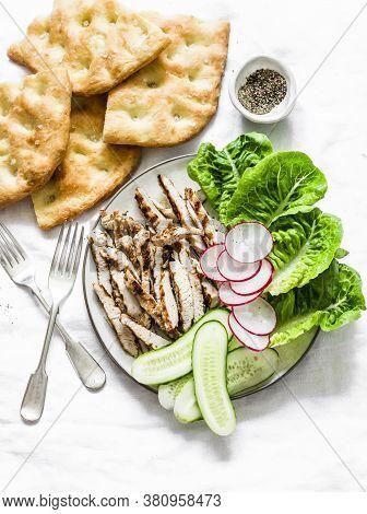 Mediterranean Lunch - Crispy Italian Focaccia, Grilled Turkey, Green Romaine Salad And Fresh Vegetab
