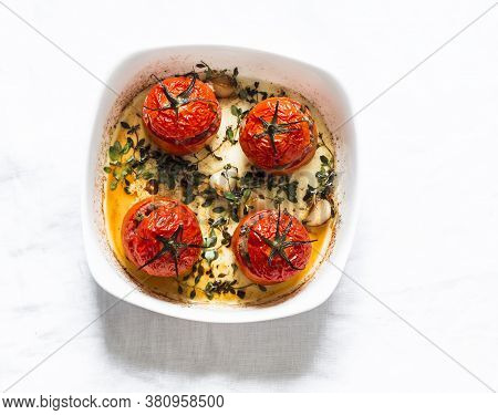 Stuffed Meat Roasted Tomatoes On A Light Background, Top View