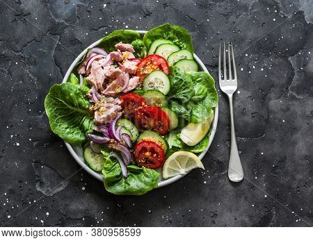 Healthy Balanced Diet Food - Canned Tuna, Tomatoes, Cucumbers, Romaine Salad, Red Onion, Olive Oil S