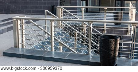 generic staircase with stainless steel balustrade usually used in industrial buildings