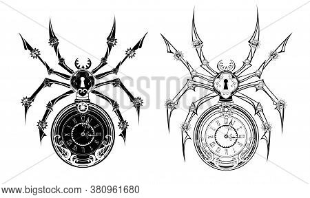 Two Mechanical, Monochrome, Isolated, Contour Spiders With Dial And Keyhole On The Abdomen. Steampun