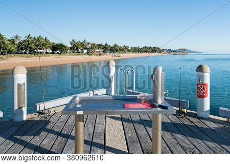 Popular Fishing Spot With Fish Cleaning Station On The Jetty At The Strand, Townsville, Australia