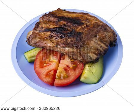 Grilled Pork Ribs With Sliced Cucumbers And Tomatoes On Light Blue Plate. Pork Ribs Isolated On Whit