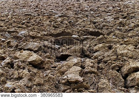 Clods Of Plowed Land On An Agricultural Field. Bologna, Italy.