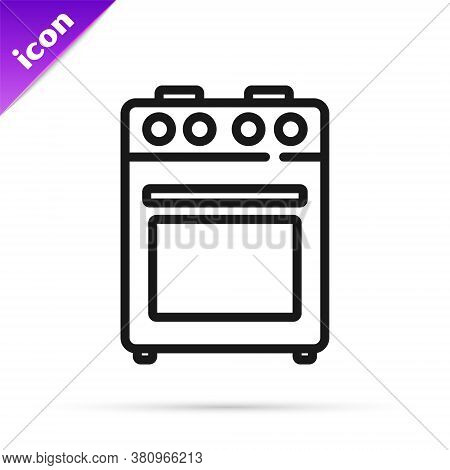 Black Line Oven Icon Isolated On White Background. Stove Gas Oven Sign. Vector