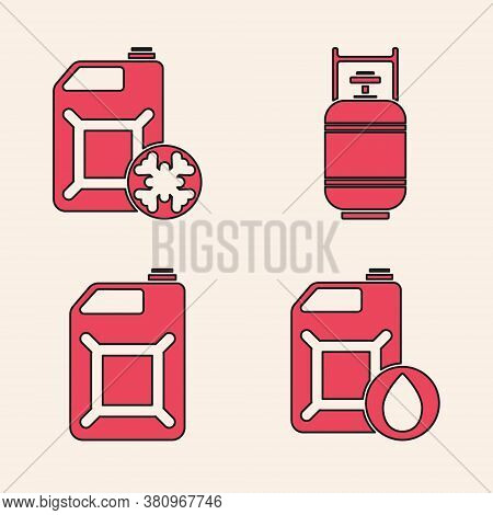 Set Canister For Motor Machine Oil, Antifreeze Canister, Propane Gas Tank And Canister For Gasoline