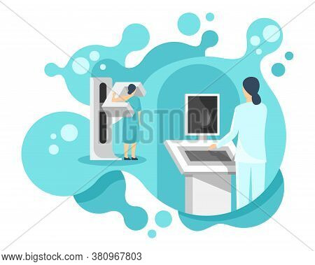 Mammogram -  Breast Diagnosis And Screening - Creative Vector Illustration Of Cancer Mammography Wit