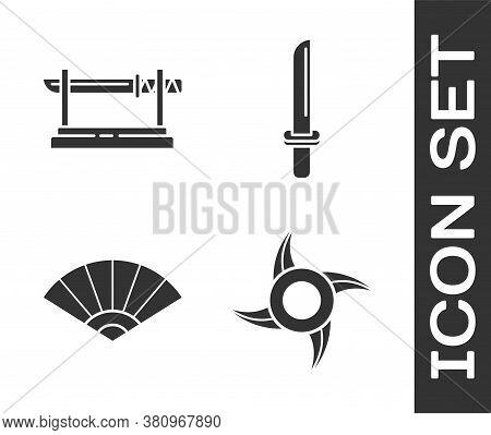 Set Japanese Ninja Shuriken, Traditional Japanese Katana, Paper Chinese Or Japanese Folding Fan And