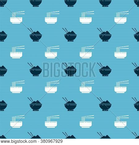 Set Rice In A Bowl With Chopstick And Asian Noodles In Bowl And Chopsticks On Seamless Pattern. Vect