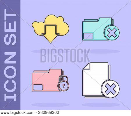 Set Delete File Document, Cloud Download, Folder And Lock And Delete Folder Icon. Vector