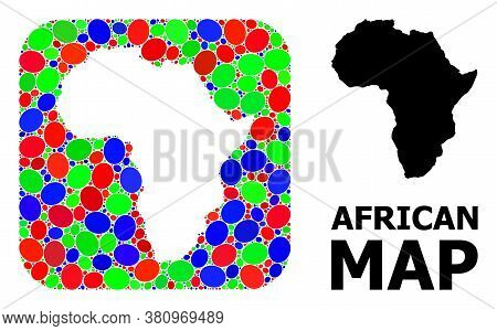 Vector Mosaic And Solid Map Of Africa. Bright Geographic Map Created As Hole From Rounded Square Wit