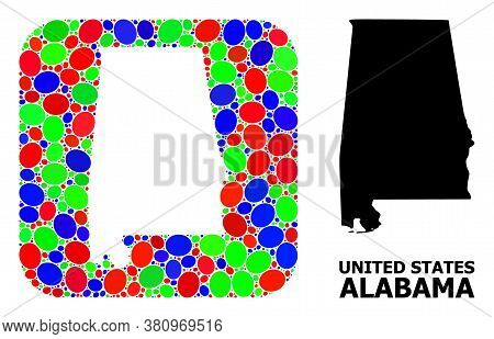Vector Mosaic And Solid Map Of Alabama State. Bright Geographic Map Designed As Hole From Rounded Sq