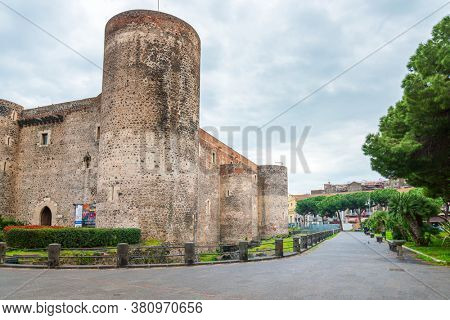 CATANIA, ITALY - January 19, 2019: Castello Ursino (Castello Svevo di Catania) is a castle in Catania, Italy