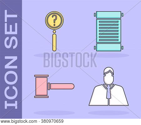 Set Lawyer, Attorney, Jurist, Magnifying Glass With Search, Judge Gavel And Decree, Paper, Parchment