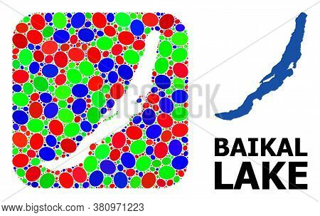 Vector Mosaic And Solid Map Of Baikal. Bright Geographic Map Created As Subtraction From Rounded Squ