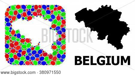 Vector Mosaic And Solid Map Of Belgium. Bright Geographic Map Designed As Subtraction From Rounded S