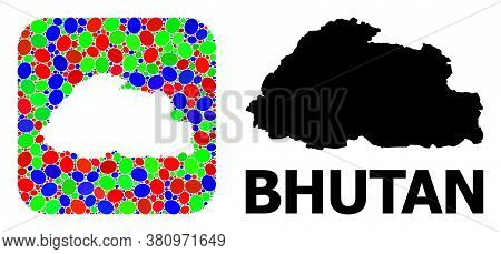 Vector Mosaic And Solid Map Of Bhutan. Bright Geographic Map Created As Stencil From Rounded Square