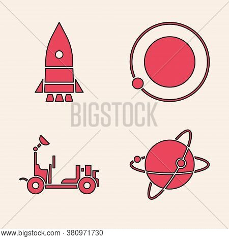Set Satellites Orbiting The Planet Earth, Rocket Ship, Satellites Orbiting The Planet Earth And Mars