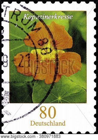 02 10 2020 Divnoe Stavropol Territory Russia The Postage Stamp Germany 2019 Flowers Flowers Of Nastu