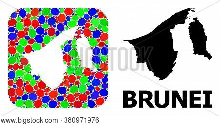 Vector Mosaic And Solid Map Of Brunei. Bright Geographic Map Designed As Hole From Rounded Square Wi