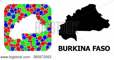 Vector Mosaic And Solid Map Of Burkina Faso. Bright Geographic Map Designed As Subtraction From Roun
