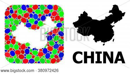 Vector Mosaic And Solid Map Of China. Bright Geographic Map Created As Stencil From Rounded Square W