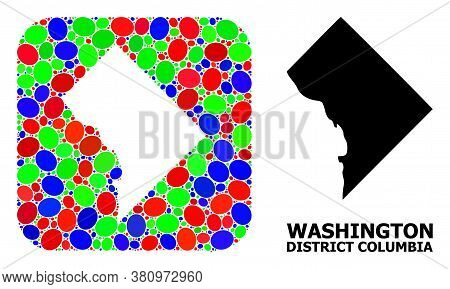 Vector Mosaic And Solid Map Of District Columbia. Bright Geographic Map Created As Subtraction From