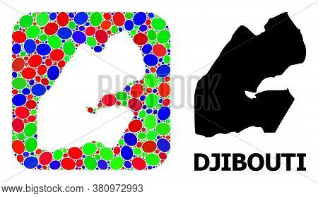 Vector Mosaic And Solid Map Of Djibouti. Bright Geographic Map Created As Stencil From Rounded Squar