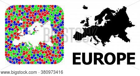 Vector Mosaic And Solid Map Of Europe. Bright Geographic Map Designed As Hole From Rounded Square Wi