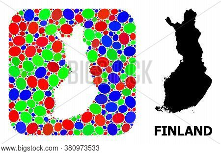 Vector Mosaic And Solid Map Of Finland. Bright Geographic Map Designed As Stencil From Rounded Squar