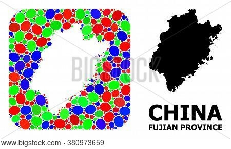 Vector Mosaic And Solid Map Of Fujian Province. Bright Geographic Map Created As Hole From Rounded S