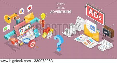 3d Isometric Flat Vector Conceptual Illustration Of Online Vs Offline Advertising.